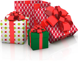 Photograph of wrapped gifts.
